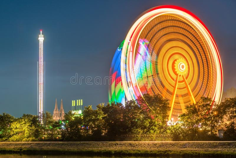 Night view of the Maidult with Ferris wheel in Regensburg, Germany.  stock images