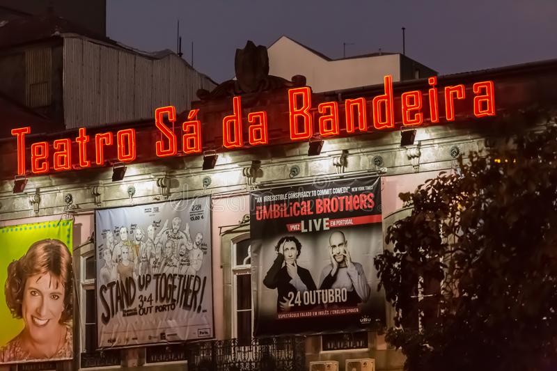 Night view of the main exterior facade of the Sá da Bandeira theater in Porto, with outdoor lighting and posters with show. Porto / Portugal - 10/02/2018 royalty free stock photo