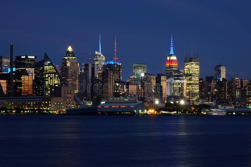 Night view of the Manhattan skyline in New York City royalty free stock image