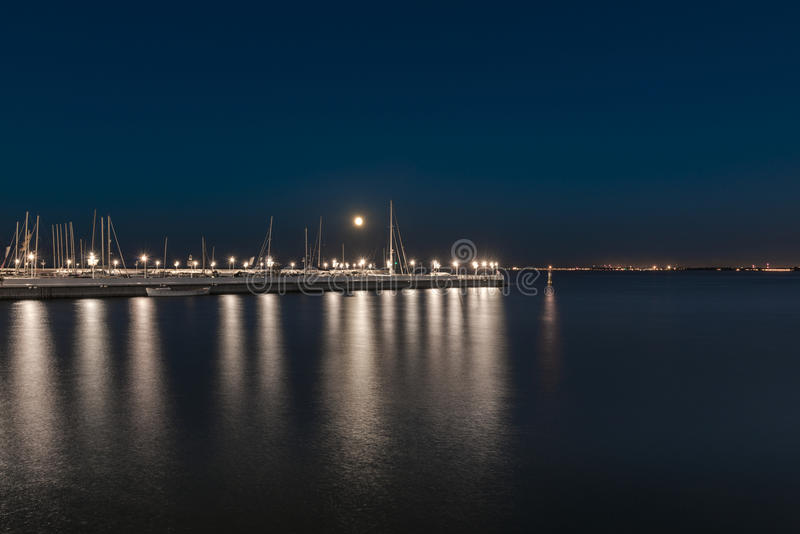 Night view of marina in Sopot, Poland. Night view of marina in Sopot town, Baltic Sea, Poland royalty free stock photography