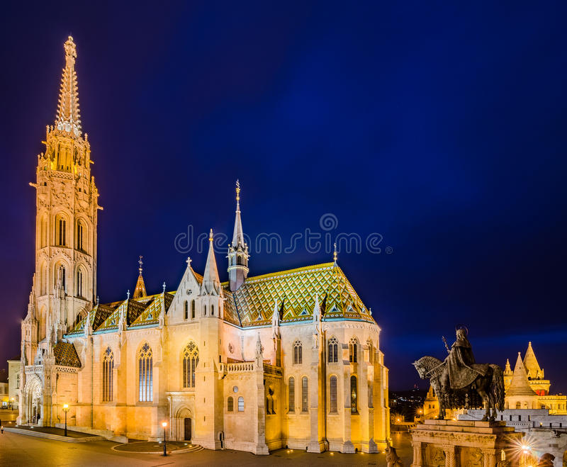 Night view of the Matthias Church in Budapest, Hungary. stock photography