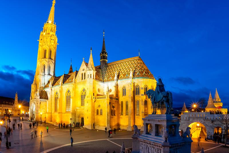 Night view of Matthias church and statue of Saint Stephen in historic city centre of Buda. Budapest, Hungary.  royalty free stock photos