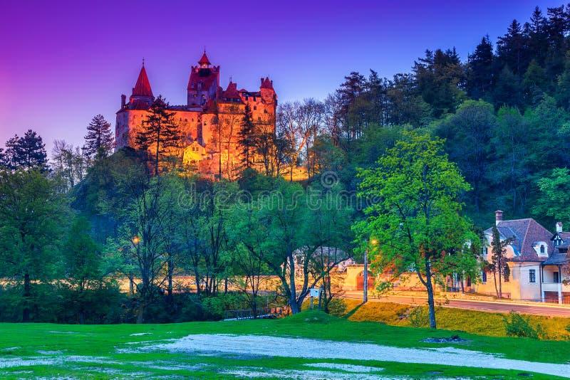 Night view of medieval famous Dracula castle,Bran,Transylvania,Romania stock photography