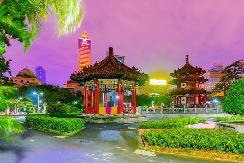 Night view of 228 memorial peace park. In Taipei stock photos