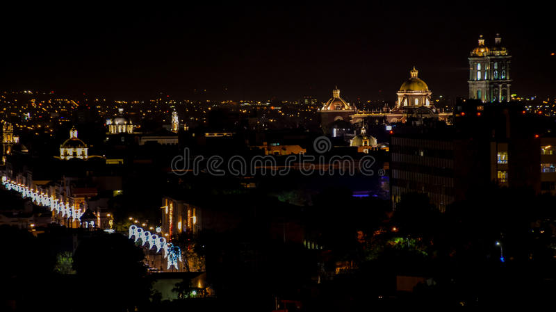 Night view the Mexican city of Puebla stock photos