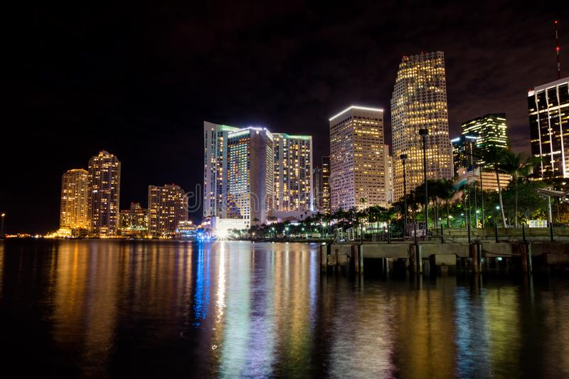 Night view of Miami downtown from bayside stock photography