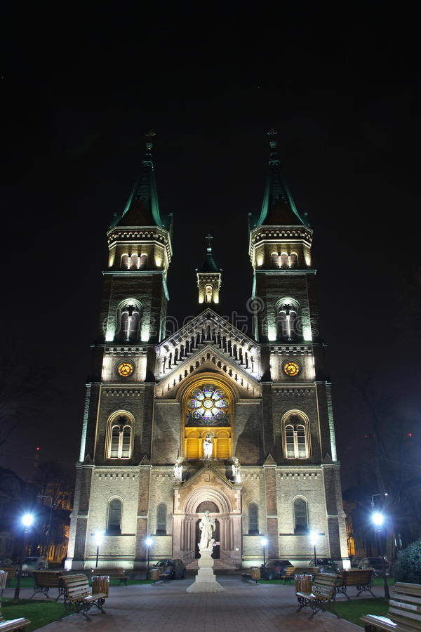 Night view Millennium St. Mary Church in Timisoara, Timis county, Romania stock photography