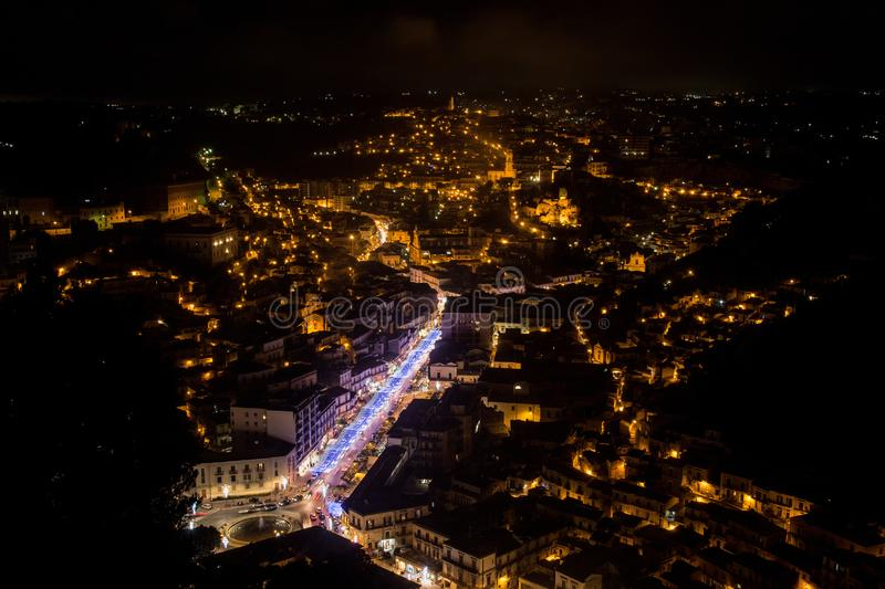 Night view of Modica royalty free stock image