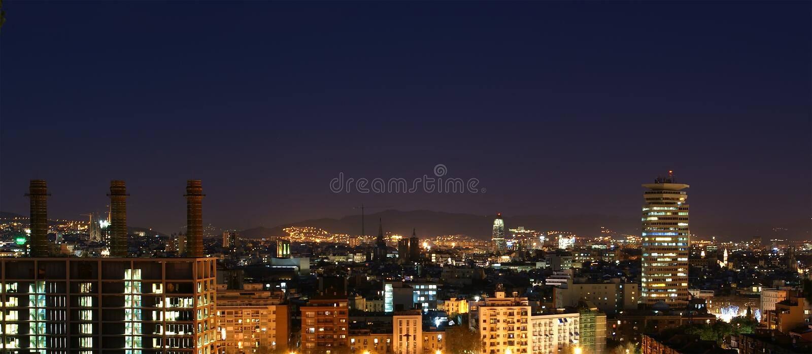 Night view from Montjuic over Barcelona stock photography