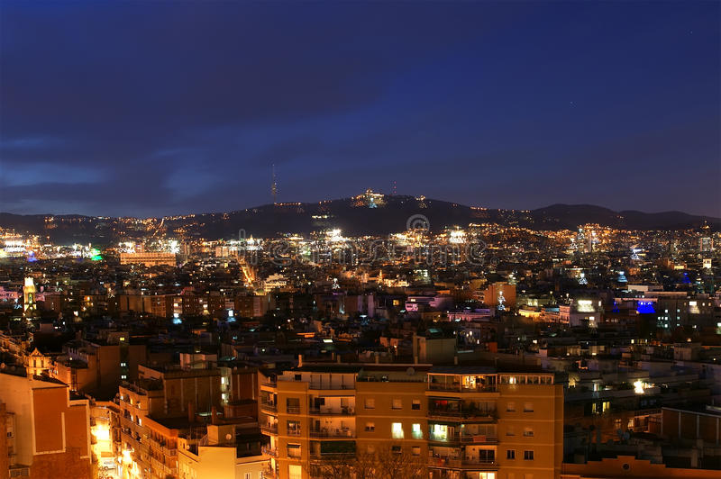 Night view from Montjuic over Barcelona stock photo