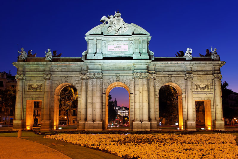 Night View Of The Monument Puerta De Alcala Royalty Free Stock Image