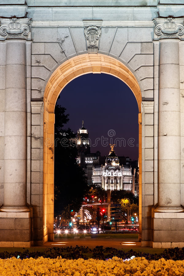 Download Night View Of The Monument Puerta De Alcala Stock Photo - Image: 9036908