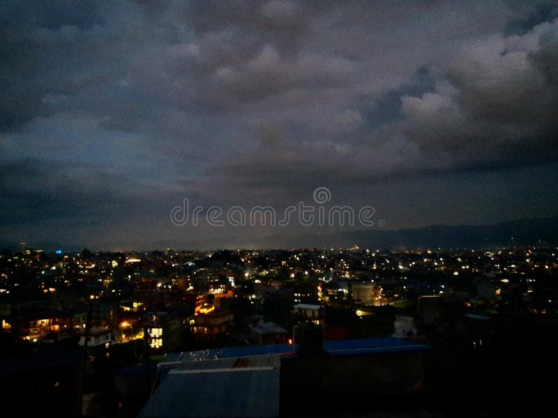 Night view of moonless pokhara, Nepal royalty free stock image