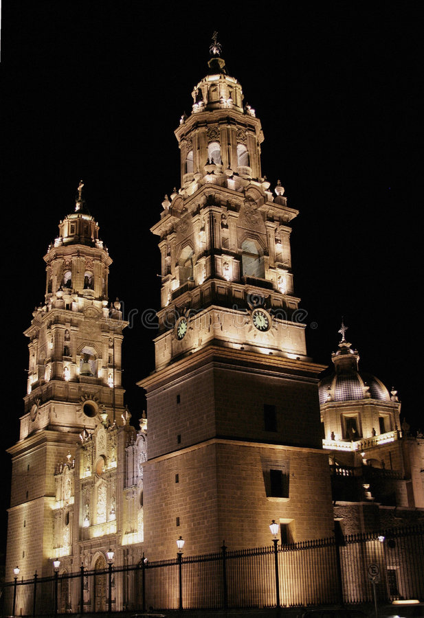 Download Night View Morelia Cathedral Stock Image - Image of churches, cathedral: 2387297