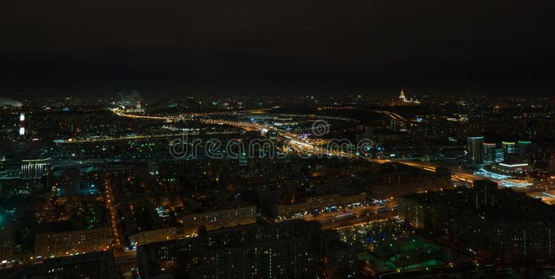 Night view of Moscow and Third Ring Road royalty free stock images