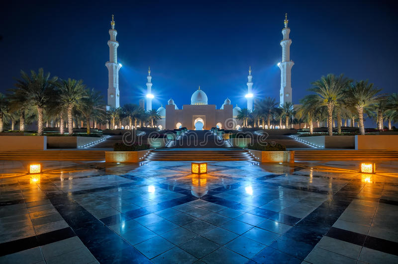 Night view at Mosque, Abu Dhabi, United Arab Emirates stock photo