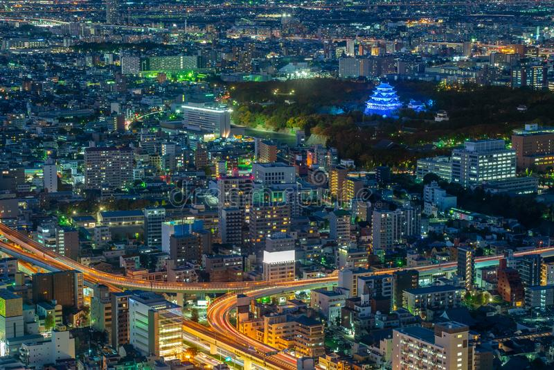 Night view of nagoya with nagoya castle in japan. Nagoya is the largest city in the Chūbu region of Japan. It is Japan`s third-largest incorporated city and royalty free stock photography
