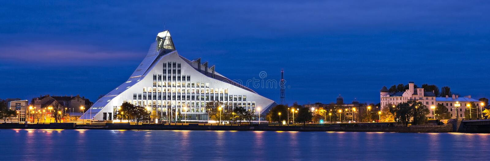 Night view on the national public library in Riga, Latvia royalty free stock image