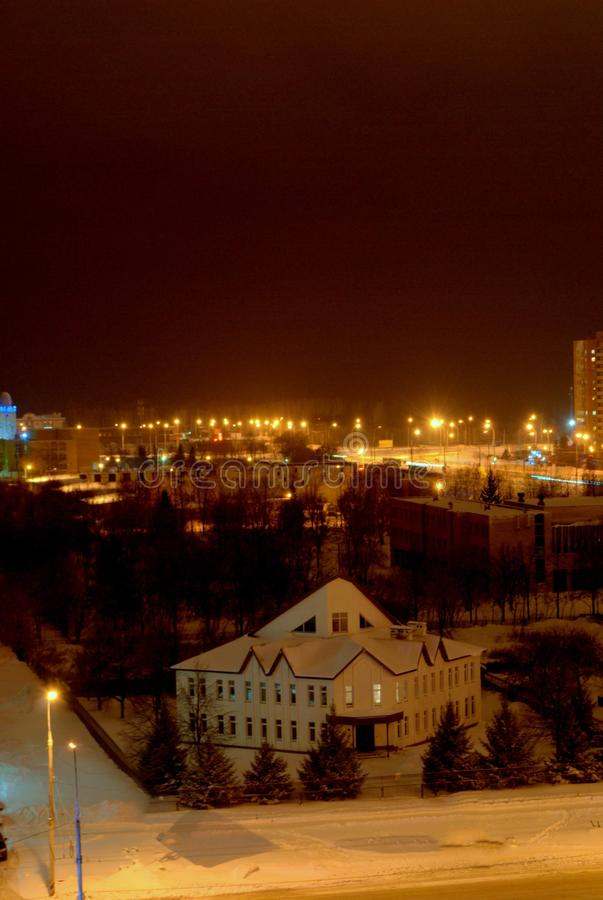 Night view of the New Apostolic Church in the city of Togliatti. stock photo