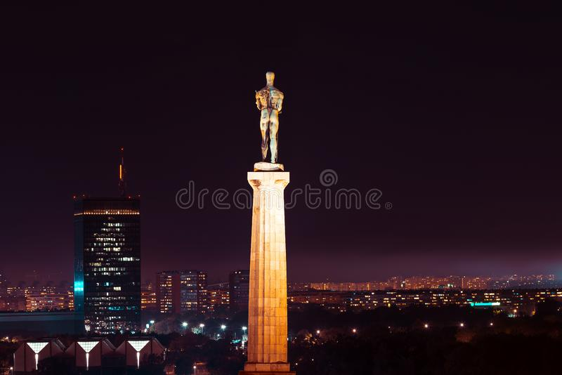 Night view of New Belgrade and Pobednik The Victor monument from Belgrade fortress. Belgrade, Serbia.  royalty free stock photos