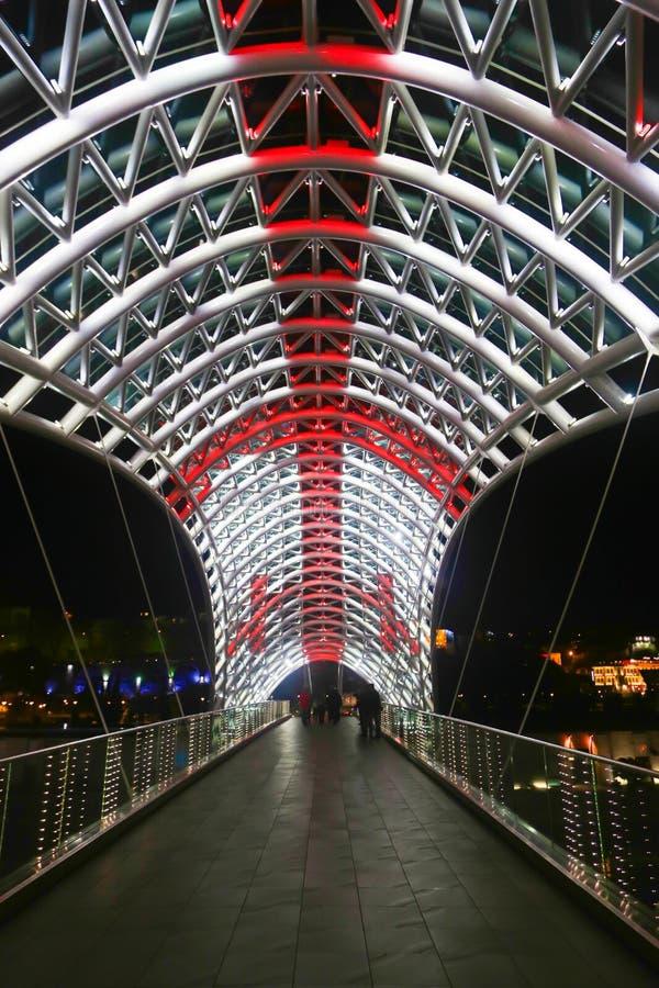 Night view at new bridge in georgia. Night view at new bridge over Mtkvari river in Tbilisi, Georgia stock photography