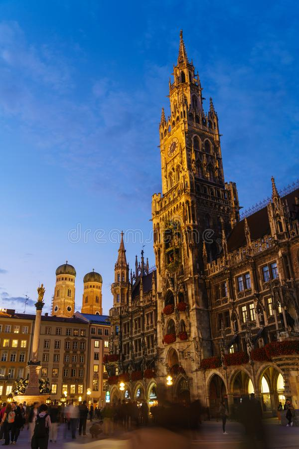 Night view of New Town Hall on Marienplatz in Munich, Bavaria royalty free stock photos