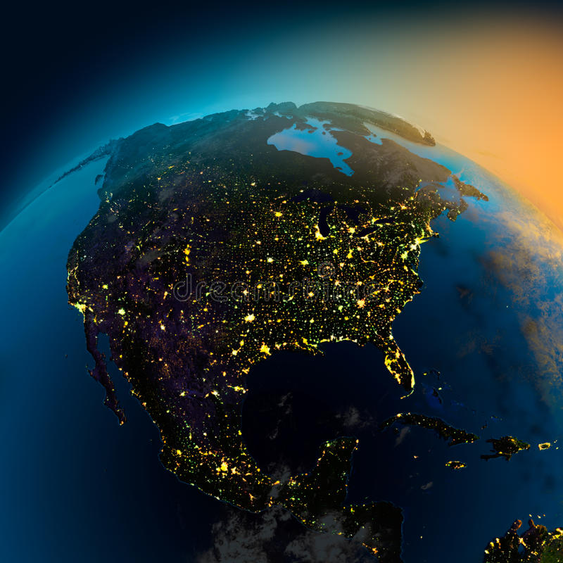 Night view of North America from stock illustration