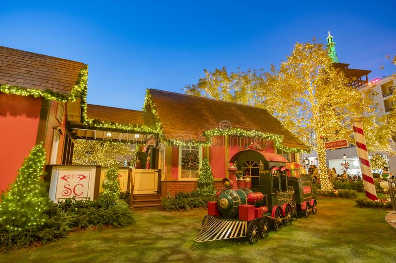 Night view of the north pole train decoration in the Americana a. Los Angeles, NOV 26: Night view of the north pole train decoration in the Americana at Brand on royalty free stock image