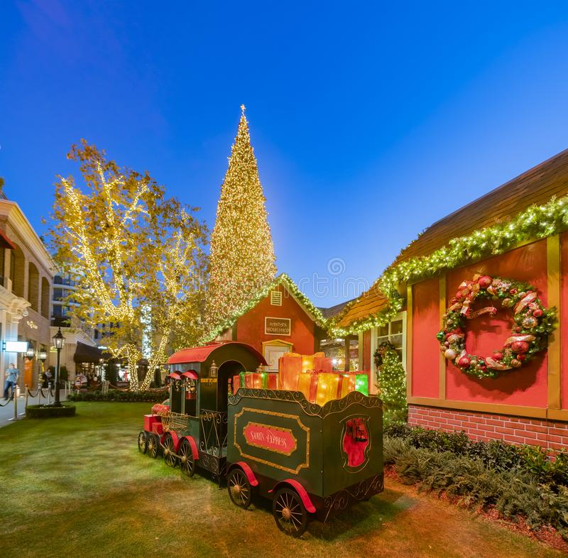 Night view of the north pole train decoration with christmas tree in the Americana at Brand. Los Angeles, NOV 26: Night view of the north pole train decoration stock photos