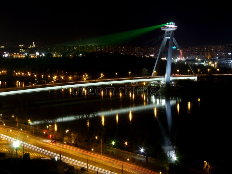 Night view of Novy Most royalty free stock photo