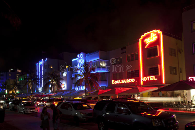 Download Night View At Ocean Drive On Editorial Stock Image - Image: 34534224