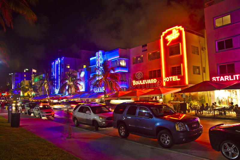 Download Night View At Ocean Drive On Editorial Stock Photo - Image: 34688443