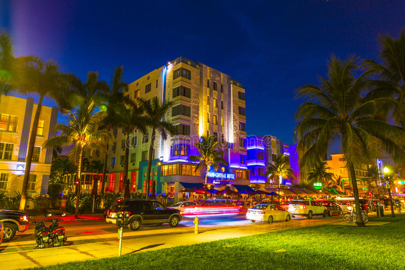 Download Night View At Ocean Drive In South Editorial Stock Photo - Image of night, boulevard: 32608198
