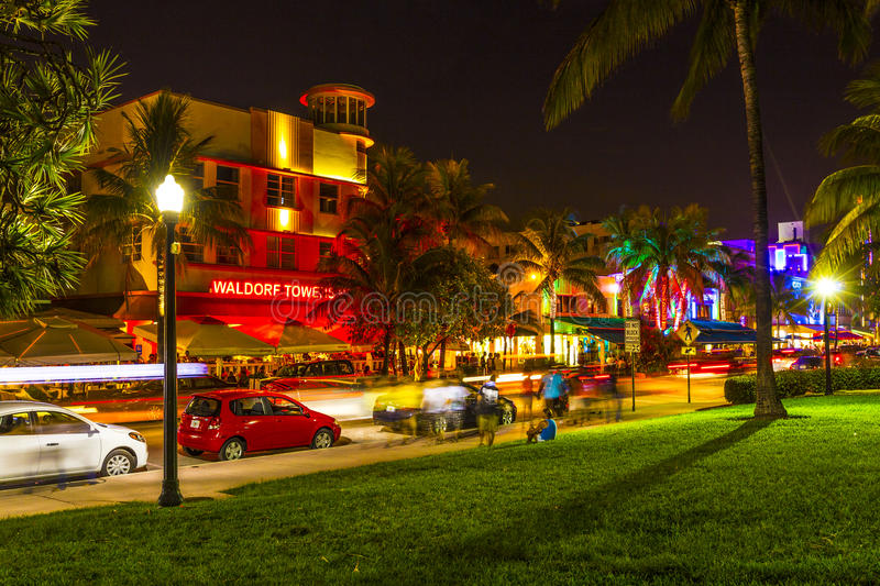 Night view at Ocean drive in South