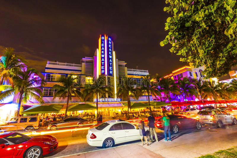 Download Night View At Ocean Drive In South Editorial Photo - Image: 32608301