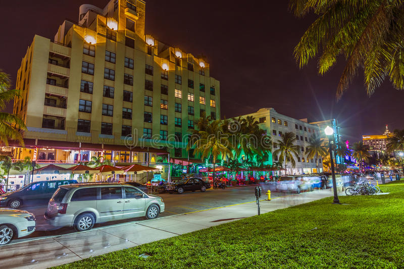 Download Night View At Ocean Drive In South Editorial Image - Image: 32843340
