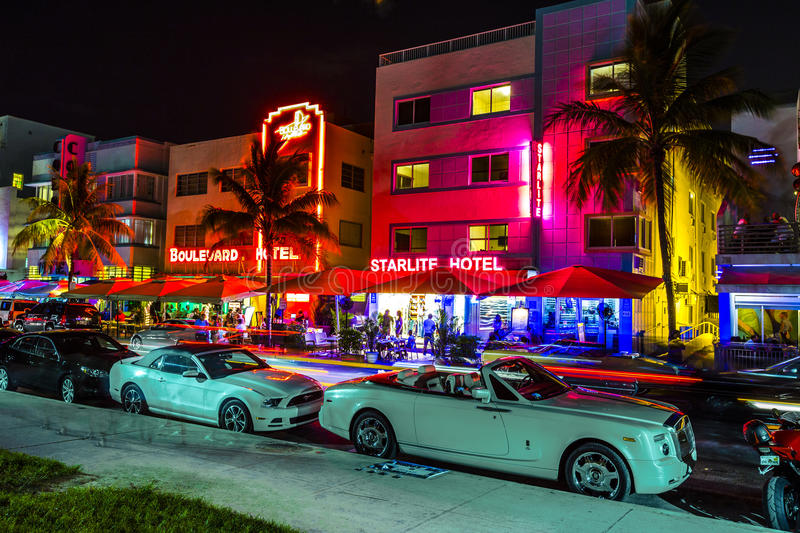 Download Night View At Ocean Drive In South Editorial Photography - Image: 32843587