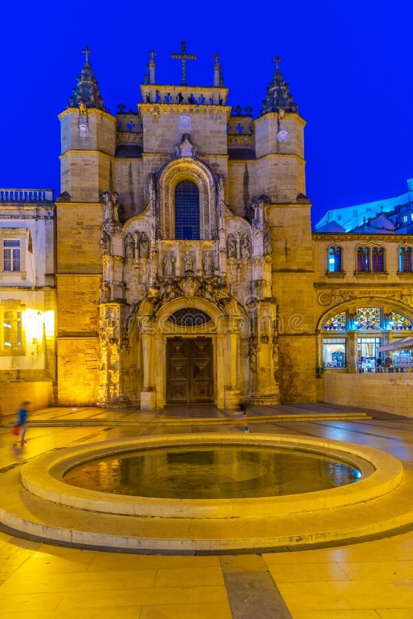 Free Night View Of The Church Of Holy Cross At Coimbra, Portugal Stock Photo - 205113390