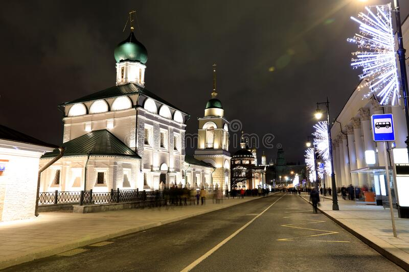 Night view of old Cathedral Church Maksima Blazennogo, Moscow, Russia royalty free stock photography