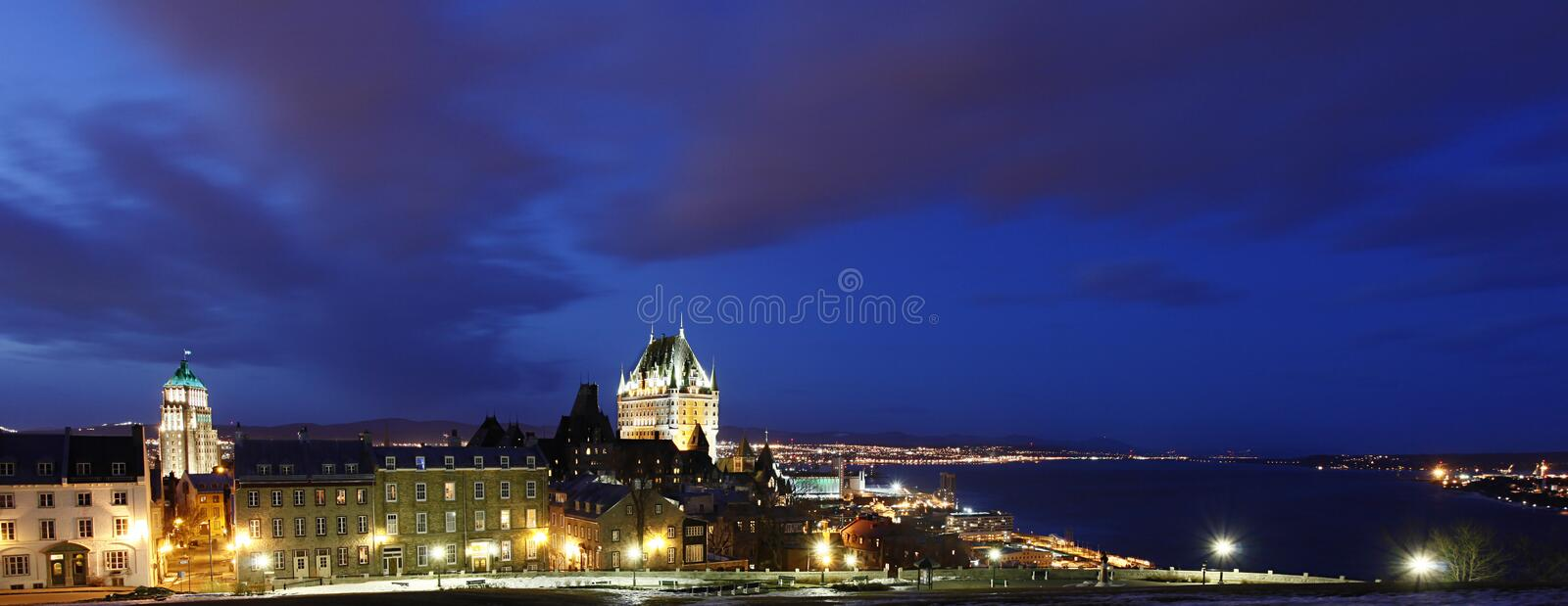 Night view on the old city of Quebec, Canada. Night view on the old city of Quebec and the Saint Lawrence waterway, Canada royalty free stock photos
