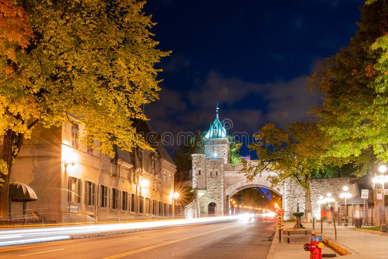 Night view of the old Porte Saint-Louis wall. At Quebec, Canada royalty free stock images