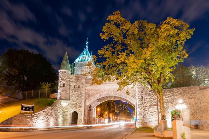 Night view of the old Porte Saint-Louis wall. At Quebec, Canada stock photography