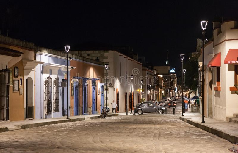 Night view of one of the central streets in Oaxaca, Mexico royalty free stock images