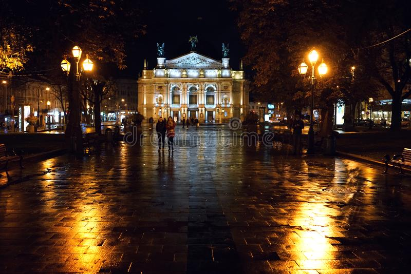 Night view of the opera theater in Lviv royalty free stock image