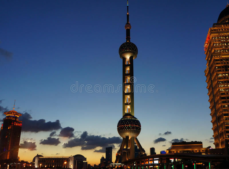 Night view of the oriental pearl tower stock images