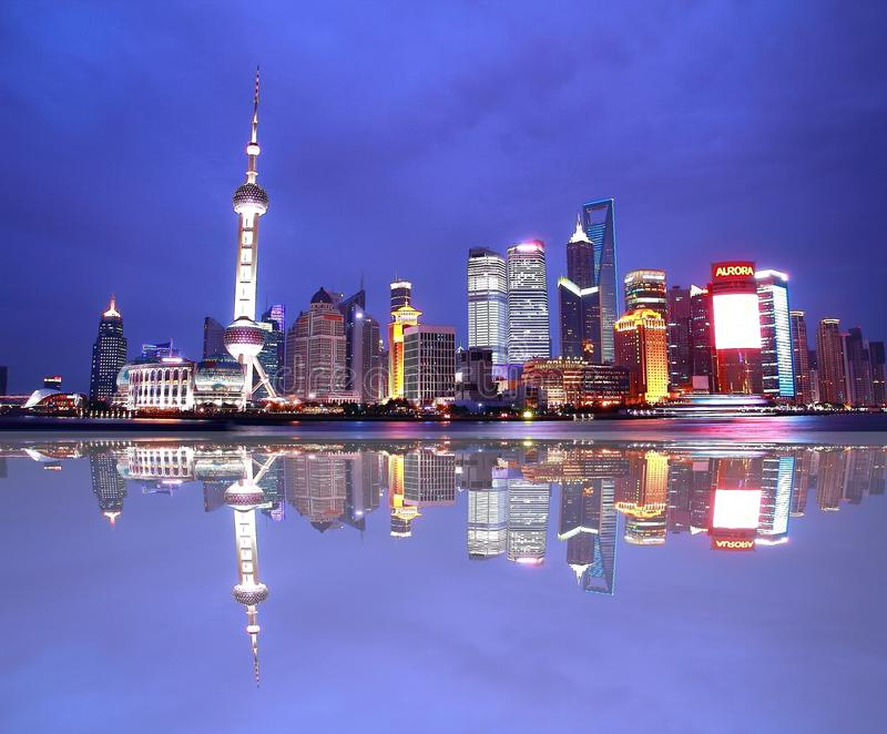 The night view of Oriental Pearl Tower at Shanghai china royalty free stock photo