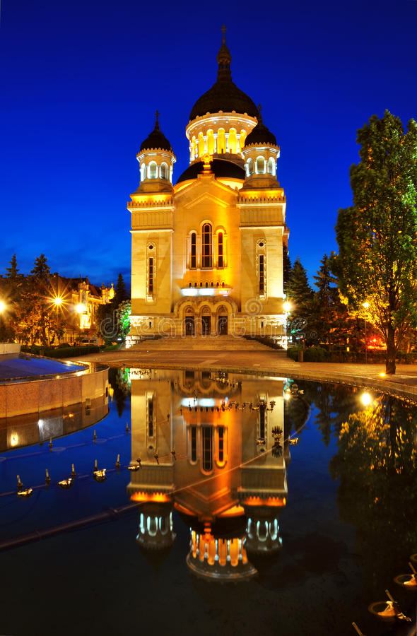 Download Night View Of Orthodox Cathedral From Cluj Napoca Stock Image - Image: 19813151