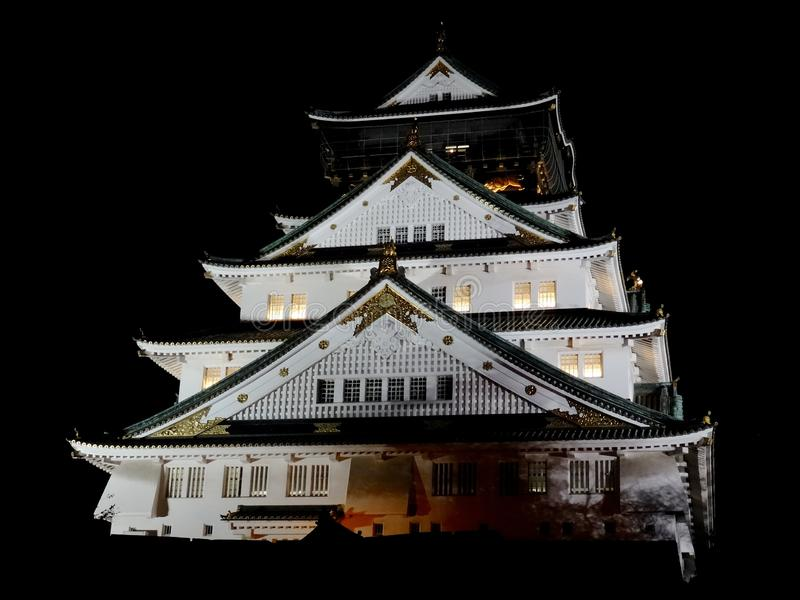 Night view of Osaka-Jo the Castle of Osaka royalty free stock images