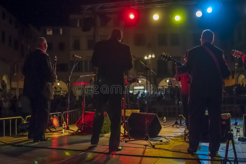 Night view of an outdoor concert from the back of the stage stock photos