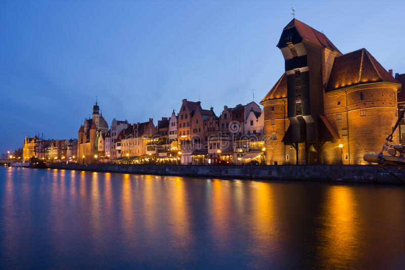 Download Night View Over The River Motlawa The Old Town In Gdansk Stock Photo - Image: 30972762